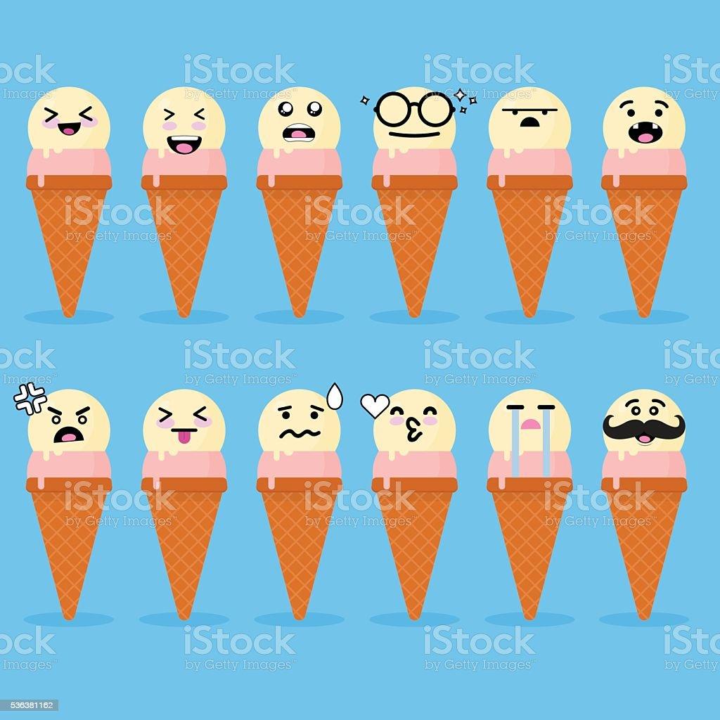 Smile face ice cream vector art illustration