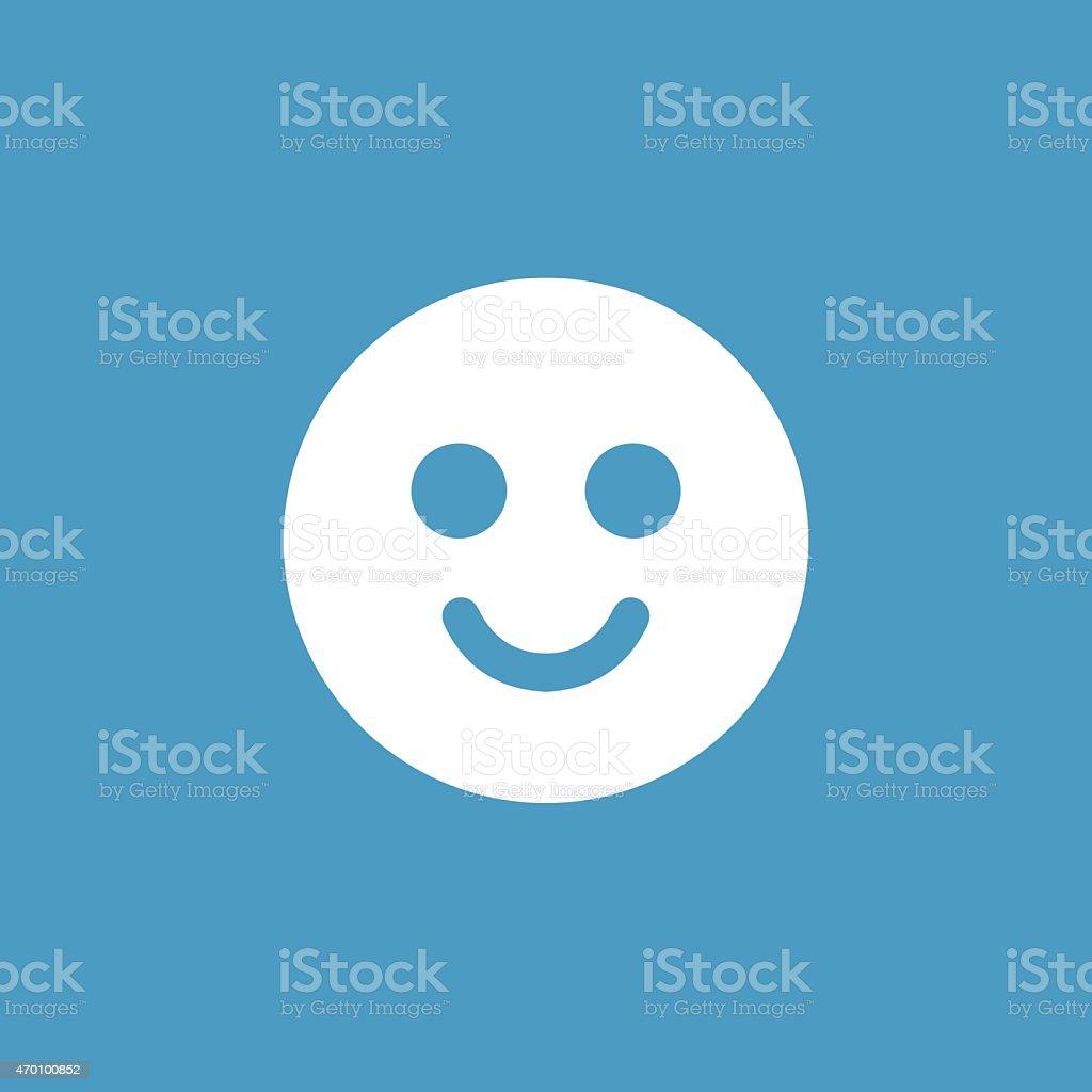 smile icon, white on the blue background vector art illustration