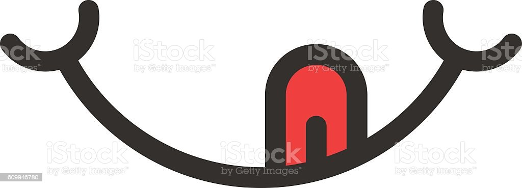 smile logo with tongue like yummy vector art illustration