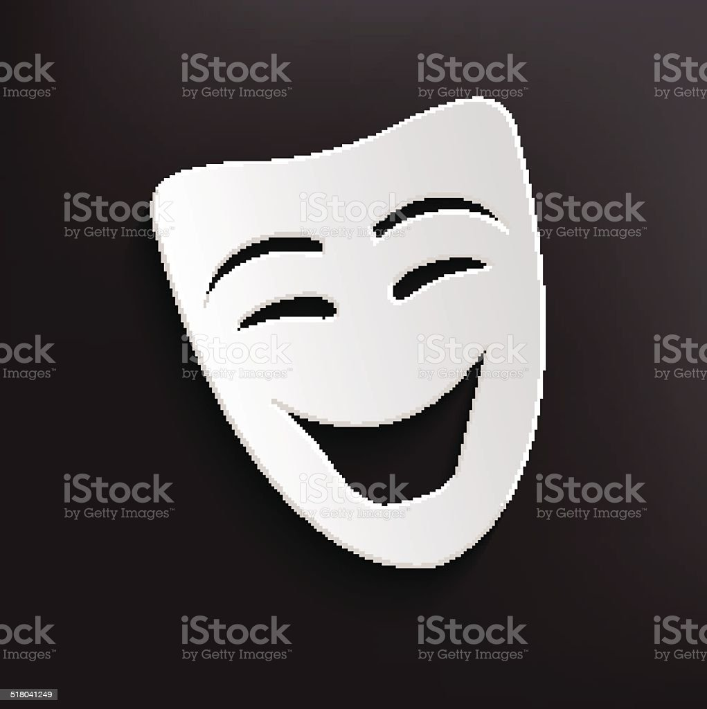 Smile mask symbol on dark background,clean vector vector art illustration