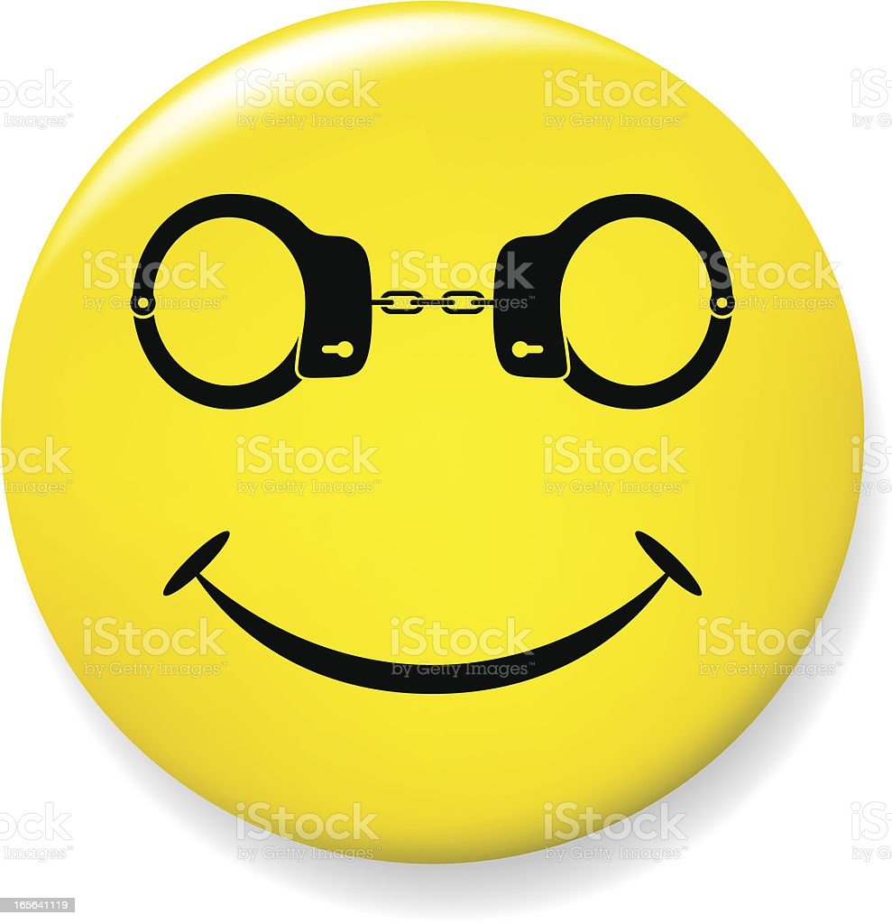 Smile pin with handcuffs glasses vector art illustration