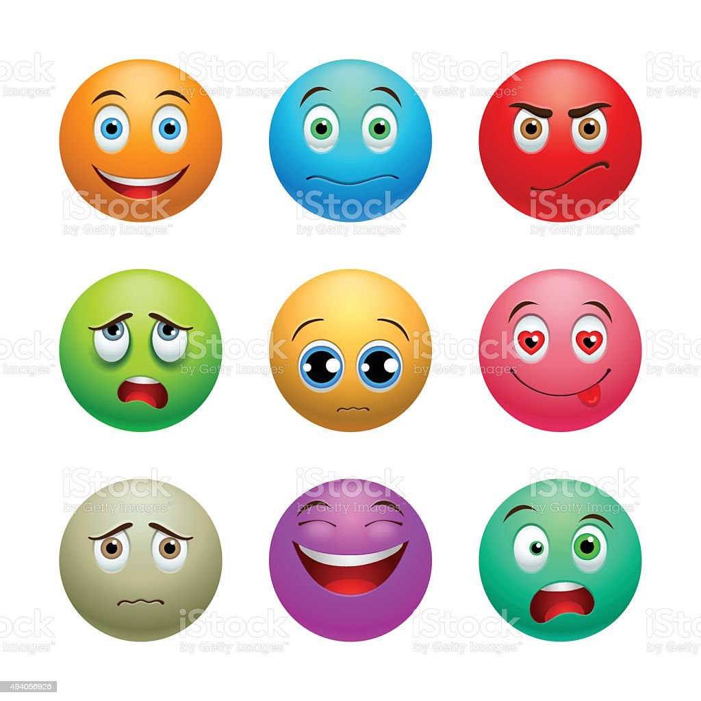 Smile set, balls vector art illustration