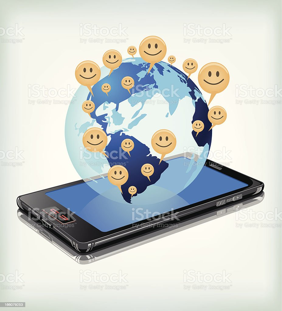 Smiley all over the world by mobile communication. vector art illustration