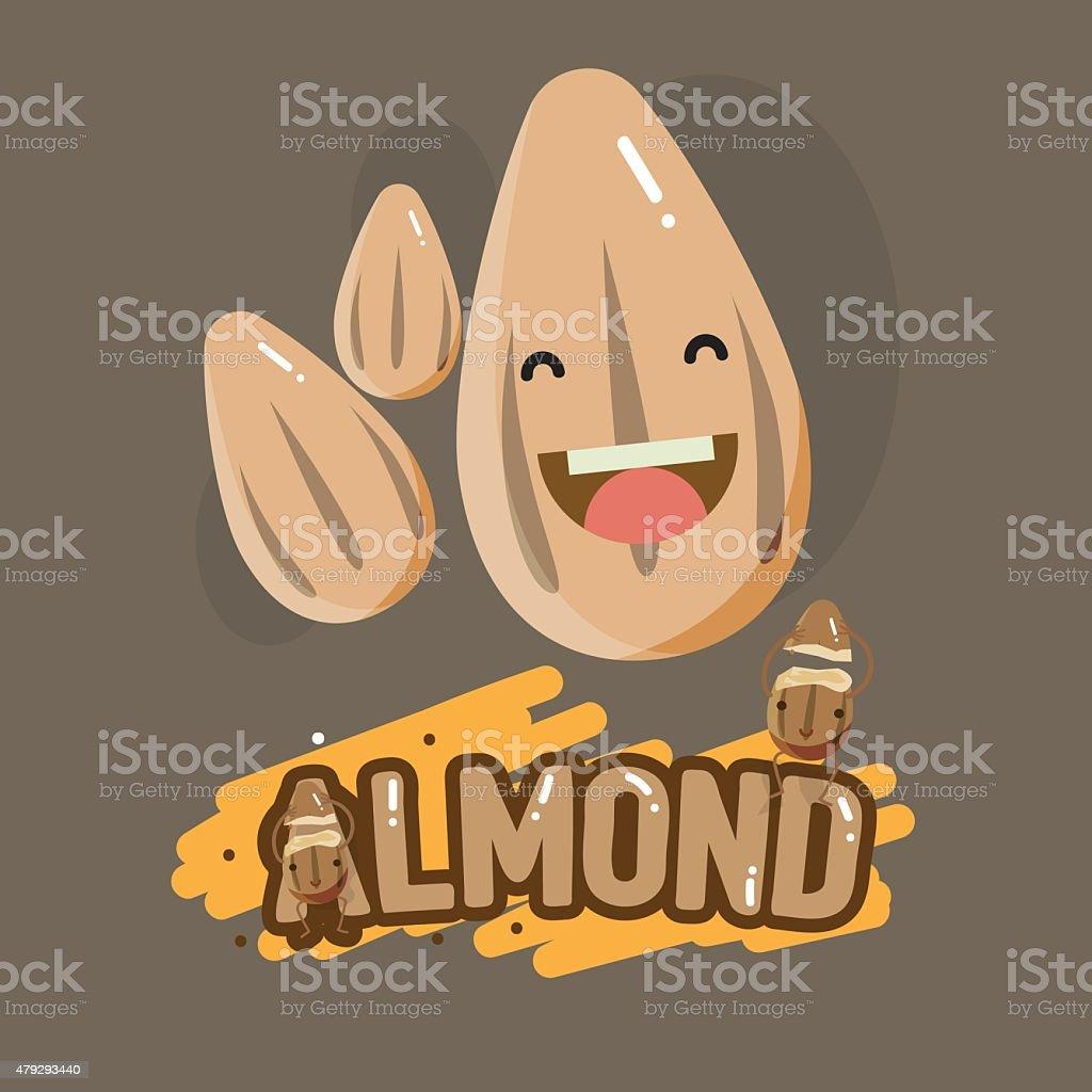 smiley almond character with letter design - vector illustraion vector art illustration