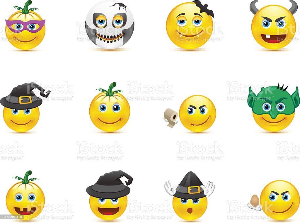 Smiley Collection on a holiday Halloween royalty-free stock vector art