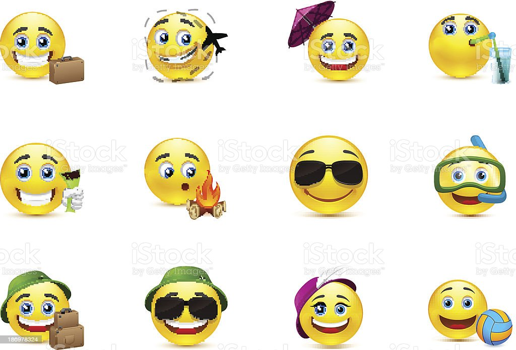 Smiley Collection travelers royalty-free stock vector art