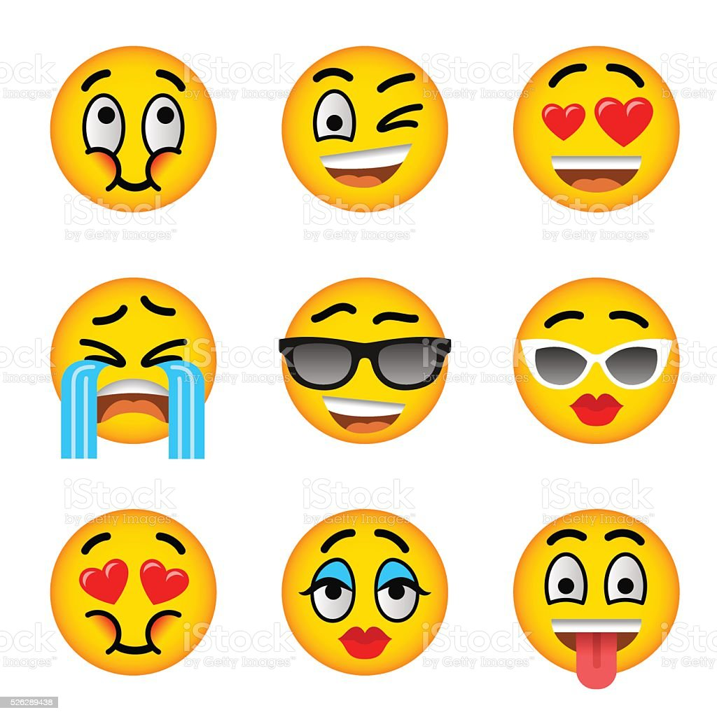 Smiley face emoji flat vector icons set vector art illustration