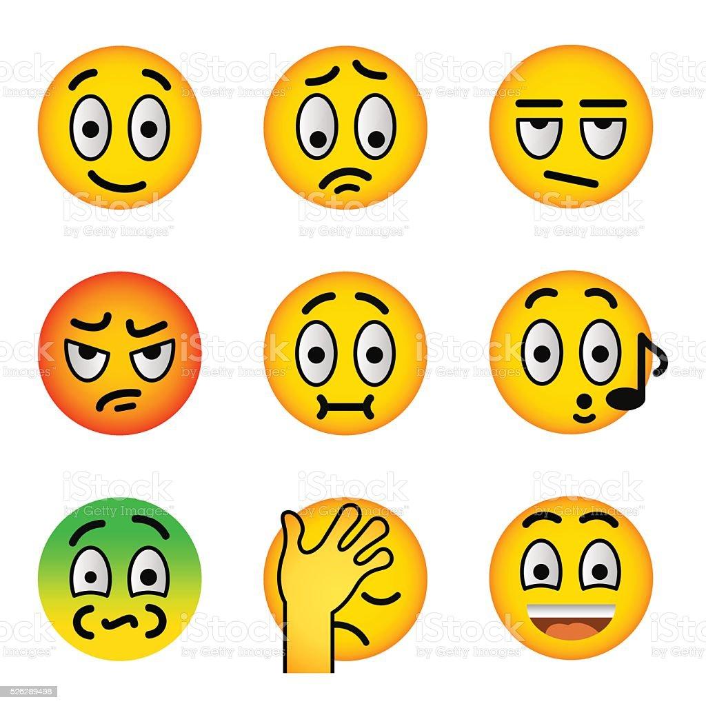 Smiley face emoji flat vector icons set vector art illustration