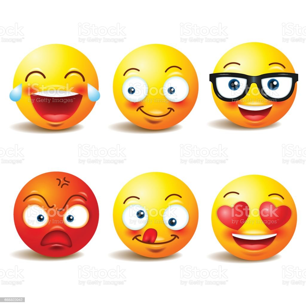 Smiley face icons or yellow emoticons with emotional funny faces in realistic . emojis .Vector illustration vector art illustration