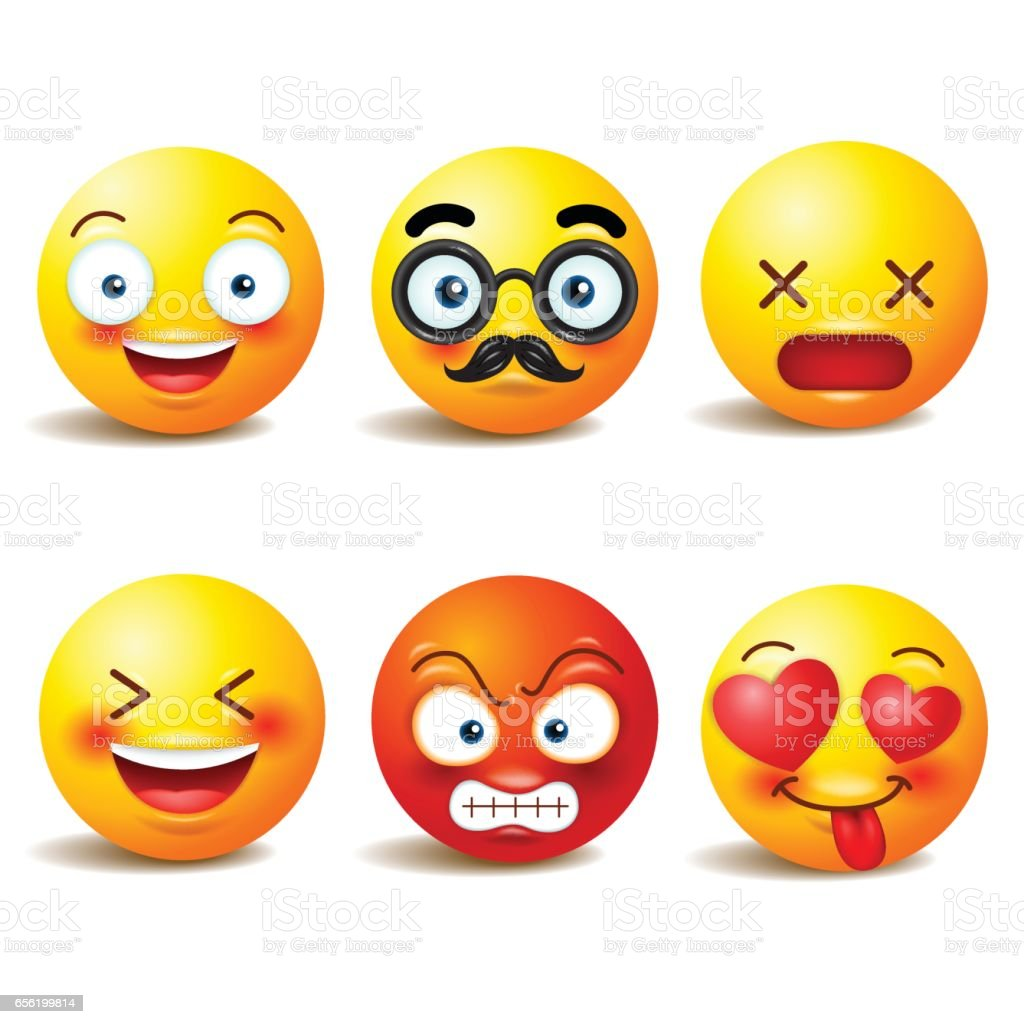Smiley face icons or yellow emoticons with emotional funny faces in realistic . emojid .Vector illustration vector art illustration