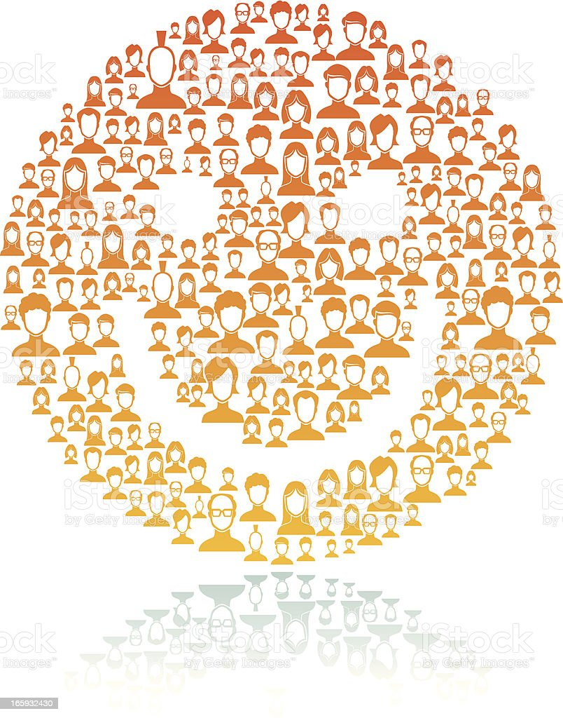 Smiley face made of network users vector art illustration
