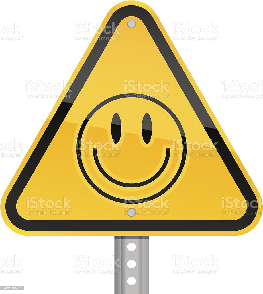 Smiley face pictogram warning triangle yellow road sign white background royalty-free stock vector art