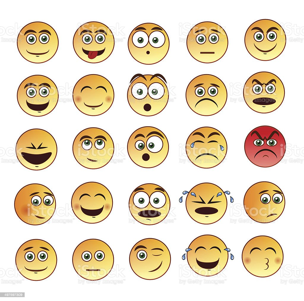 Smiley faces emoticon set vector art illustration