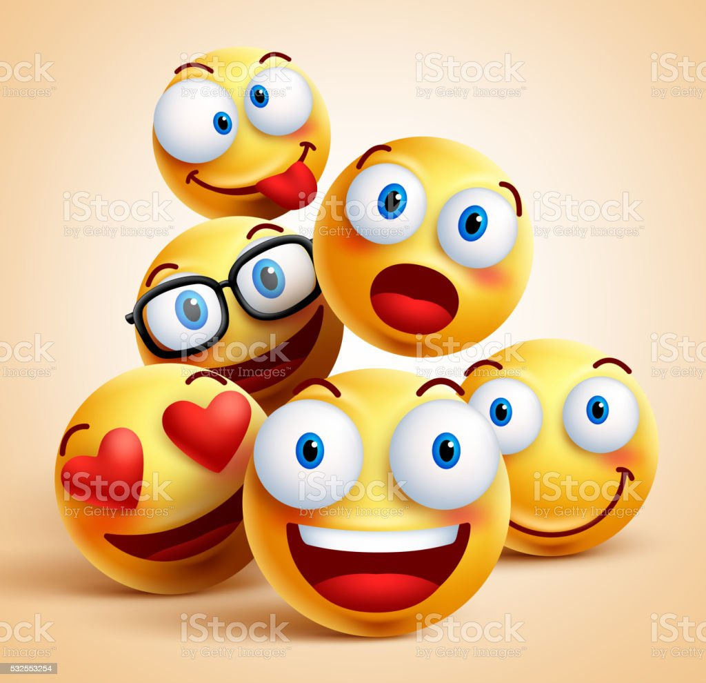 Smiley faces group of vector emoticon characters with facial expressions vector art illustration