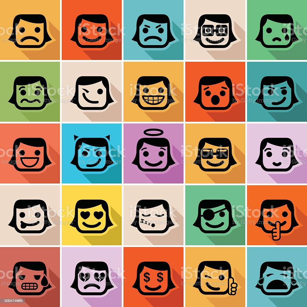Smiley faces icons - Illustration vector art illustration