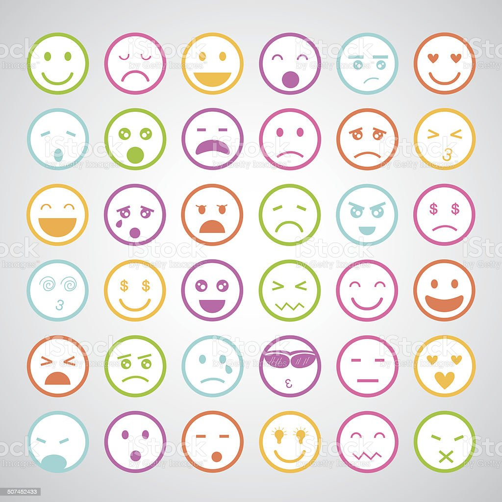 smiley faces icons set vector art illustration