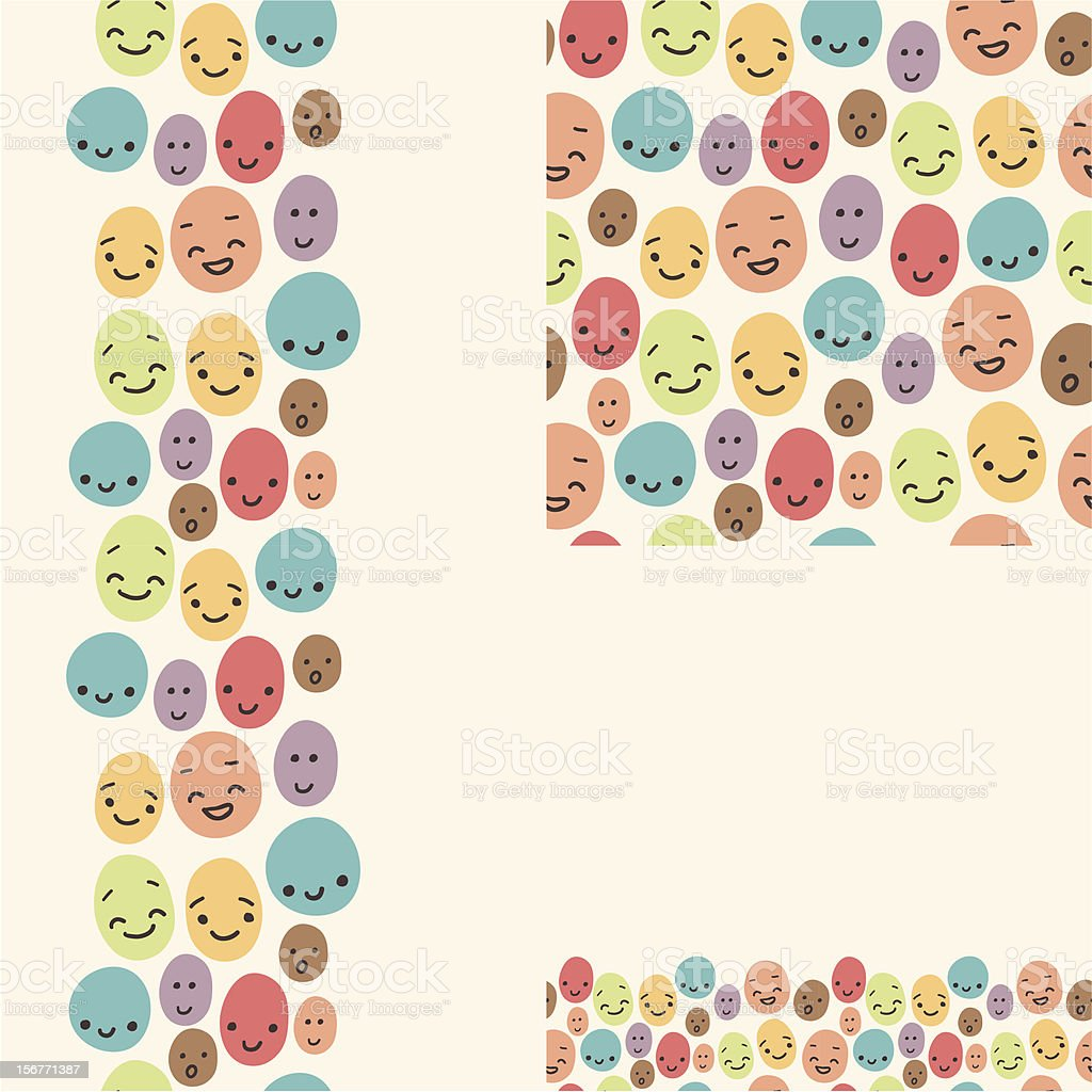 Smiley Faces Seamless Pattern Set royalty-free stock vector art