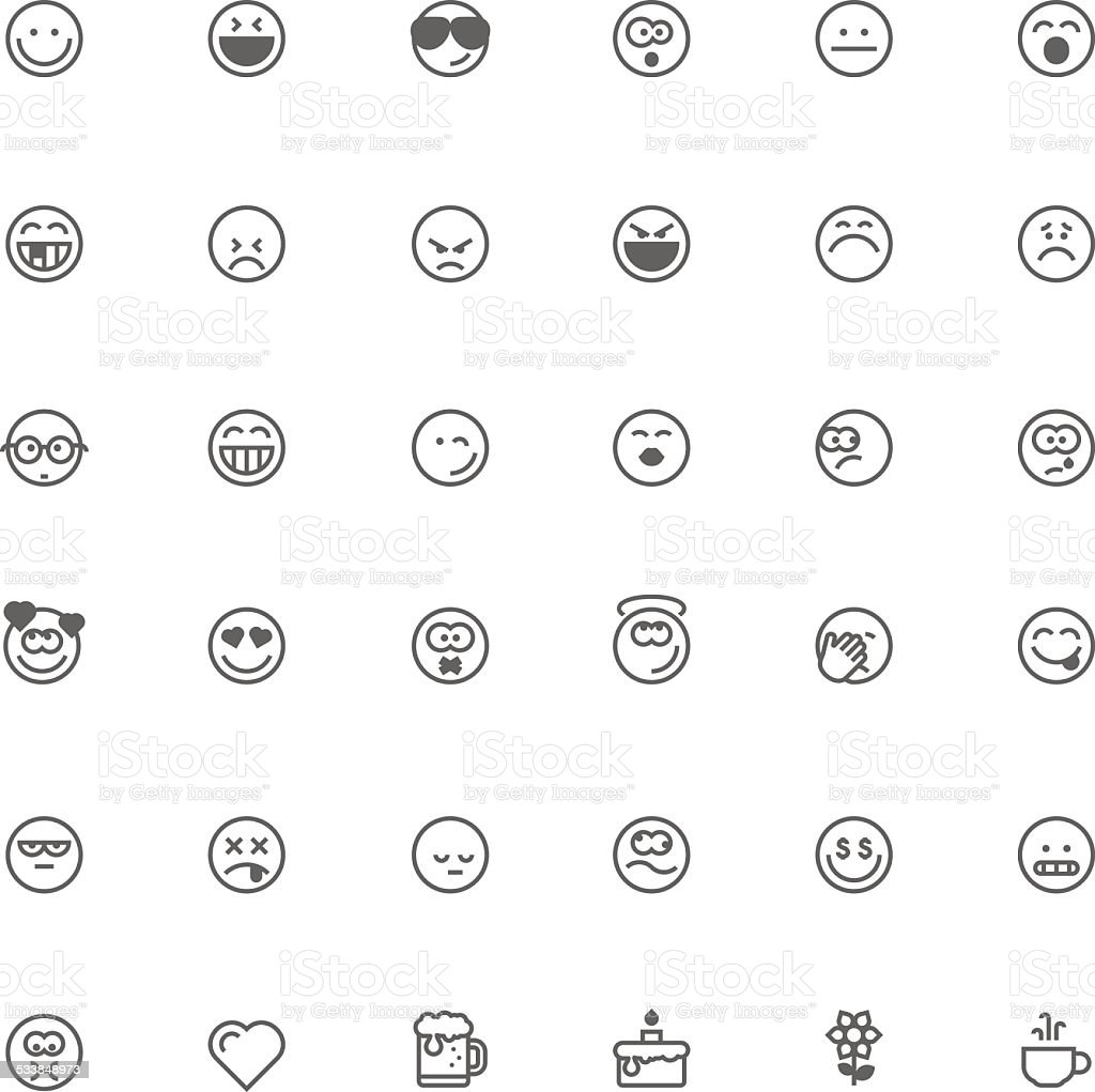 Smiley icon set vector art illustration