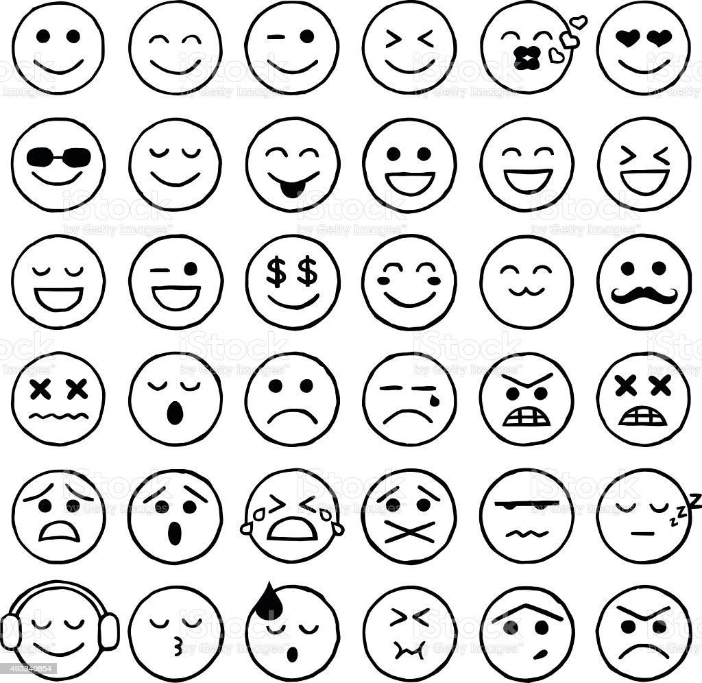 Smiley Icons, Emoticons, Facial Expressions, Internet vector art illustration