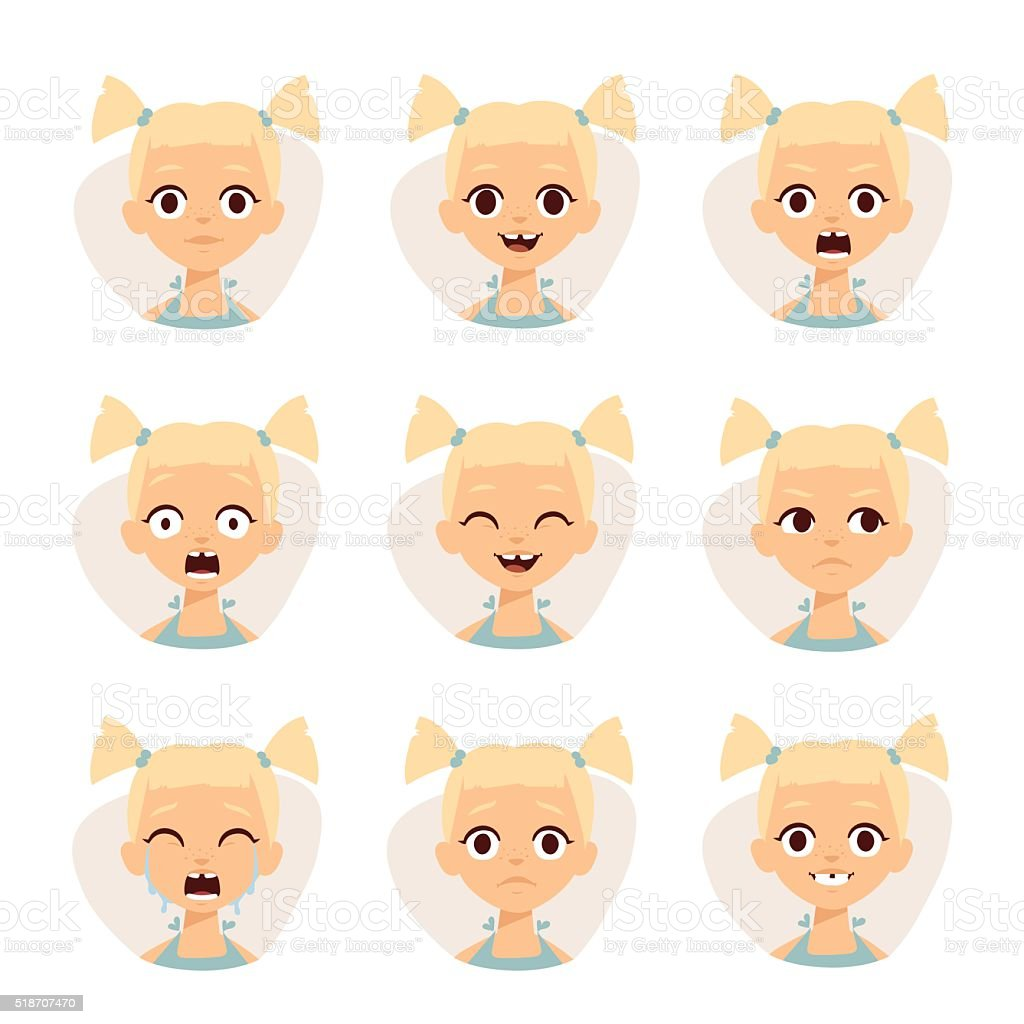 Smiley icons set of cute girls with different emotions vector vector art illustration