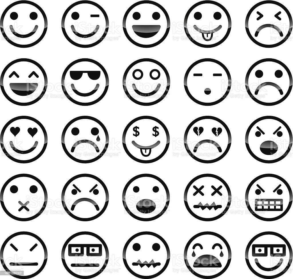 Smiley icons vector art illustration