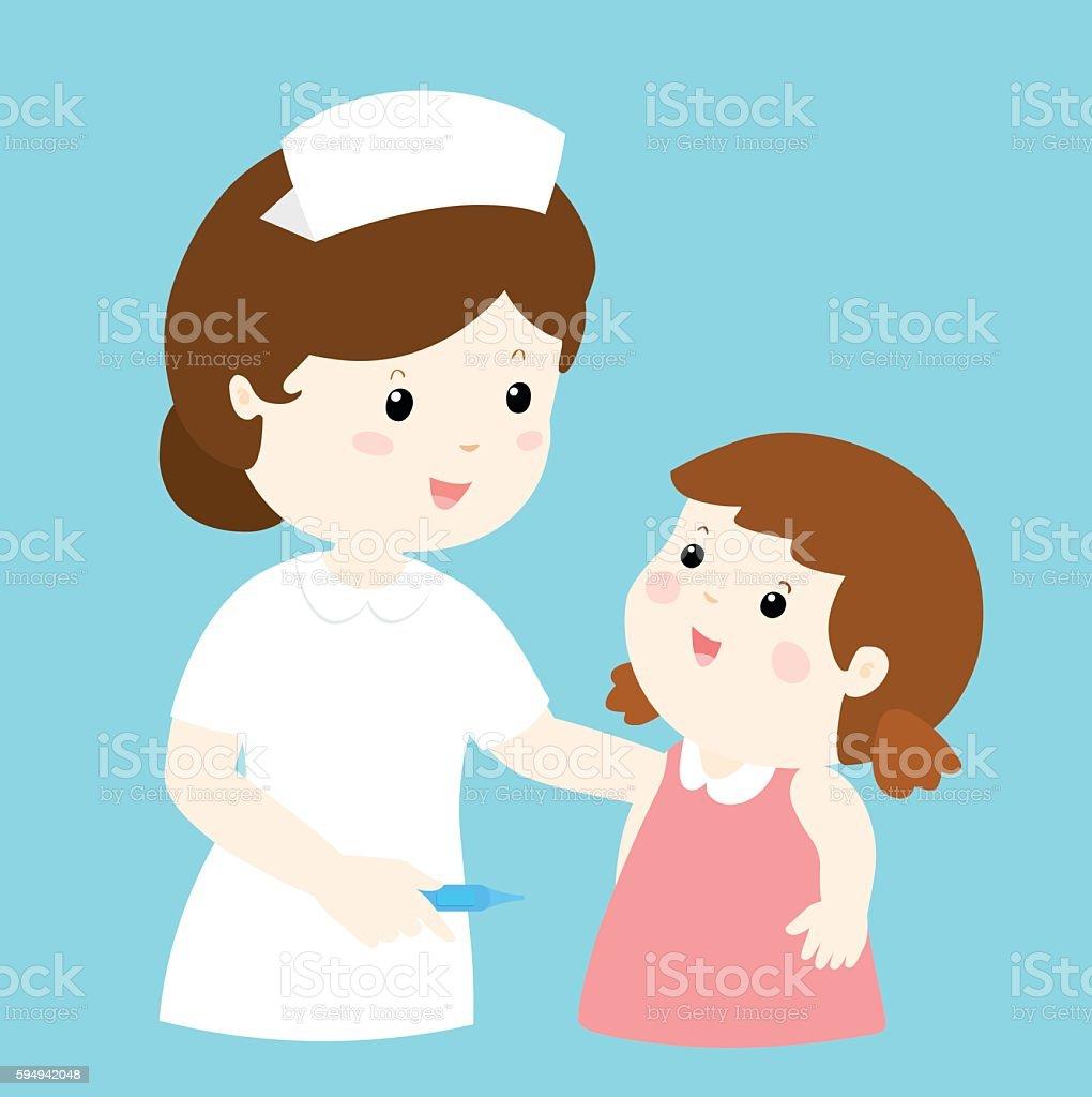 smiley nurse talk to girl vector vector art illustration