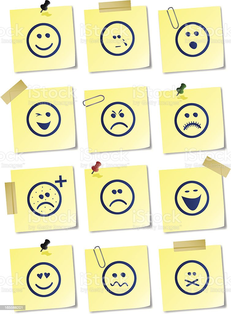 Smiley sticky notes vector art illustration