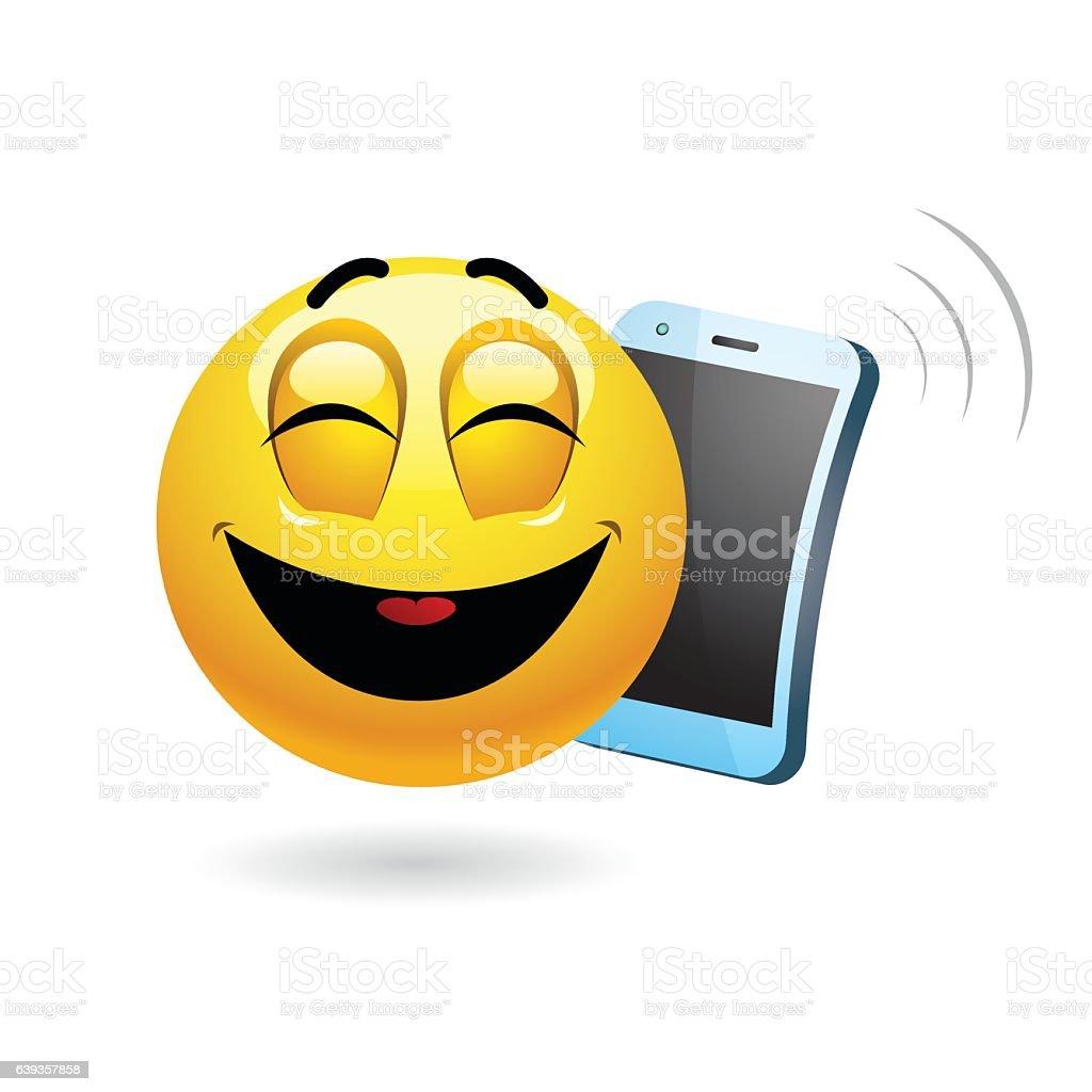 Smiley talking on a phone vector art illustration