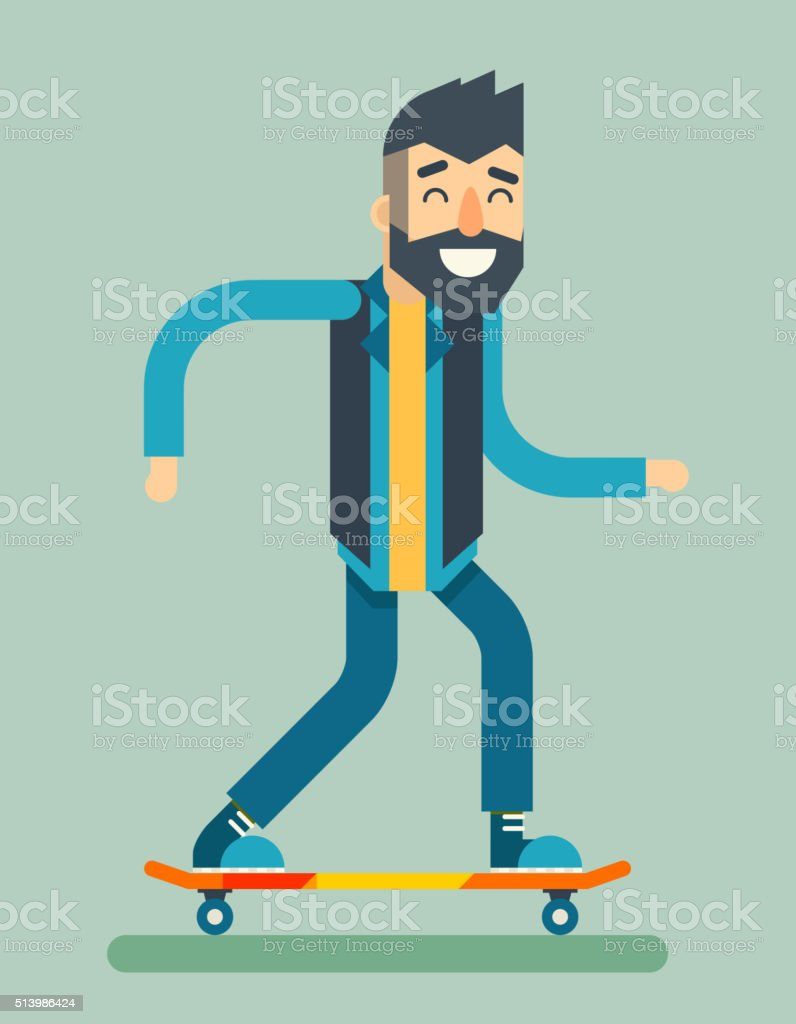 Smiling Adult Man Geek Scooter Happy Hipster Character Ride Skateboard vector art illustration