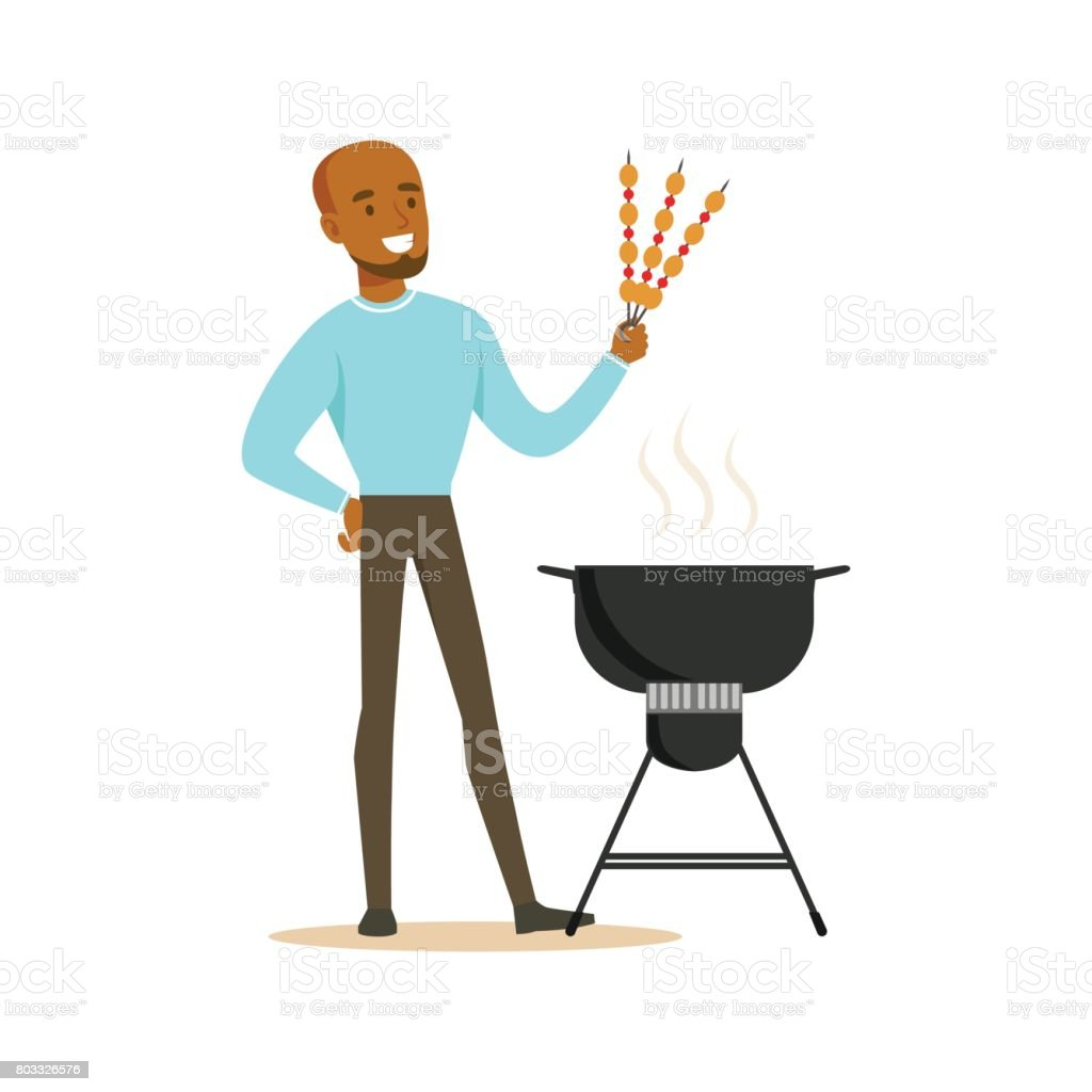 Smiling african man preparing meat kebabs on a barbecue grill vector Illustration vector art illustration