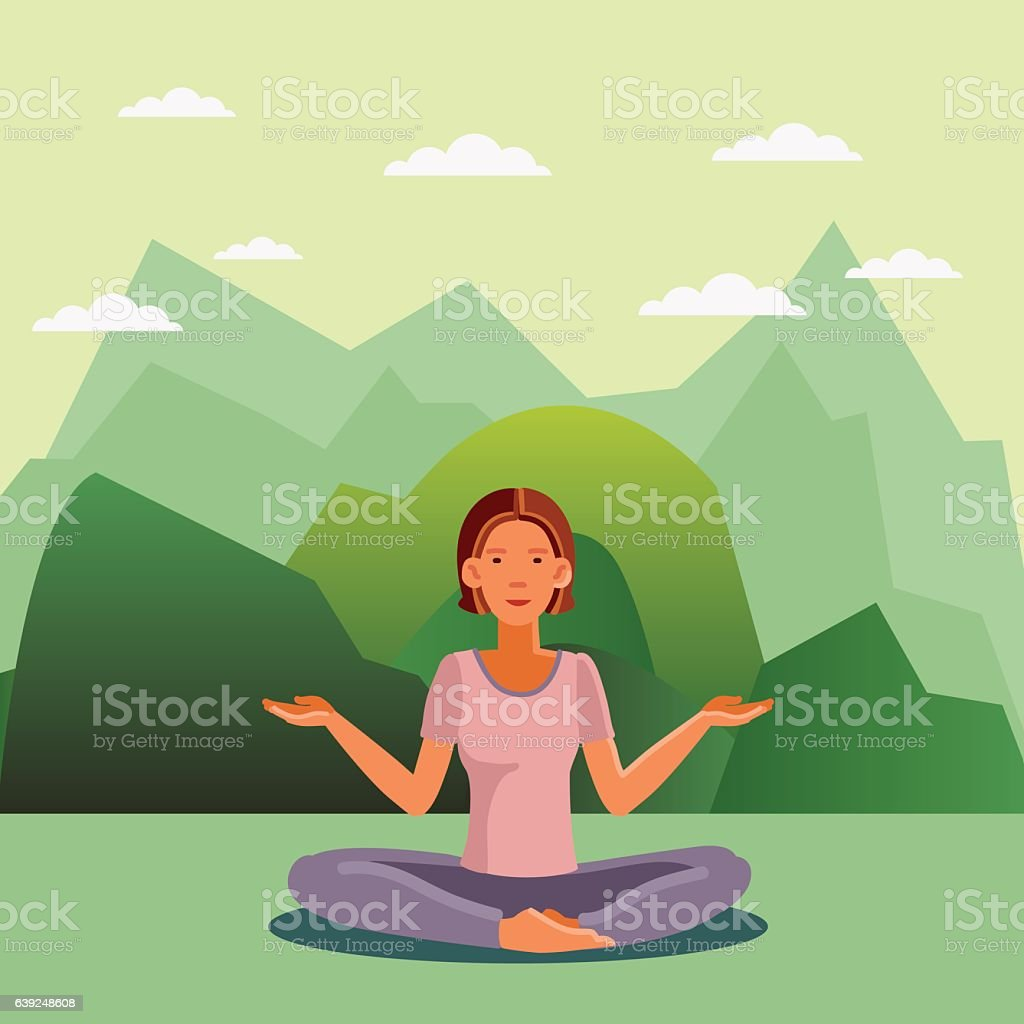 Smiling and happy woman in the lotus position vector art illustration