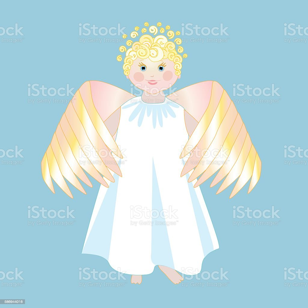 Smiling angel with wings in a white dress royalty-free stock vector art