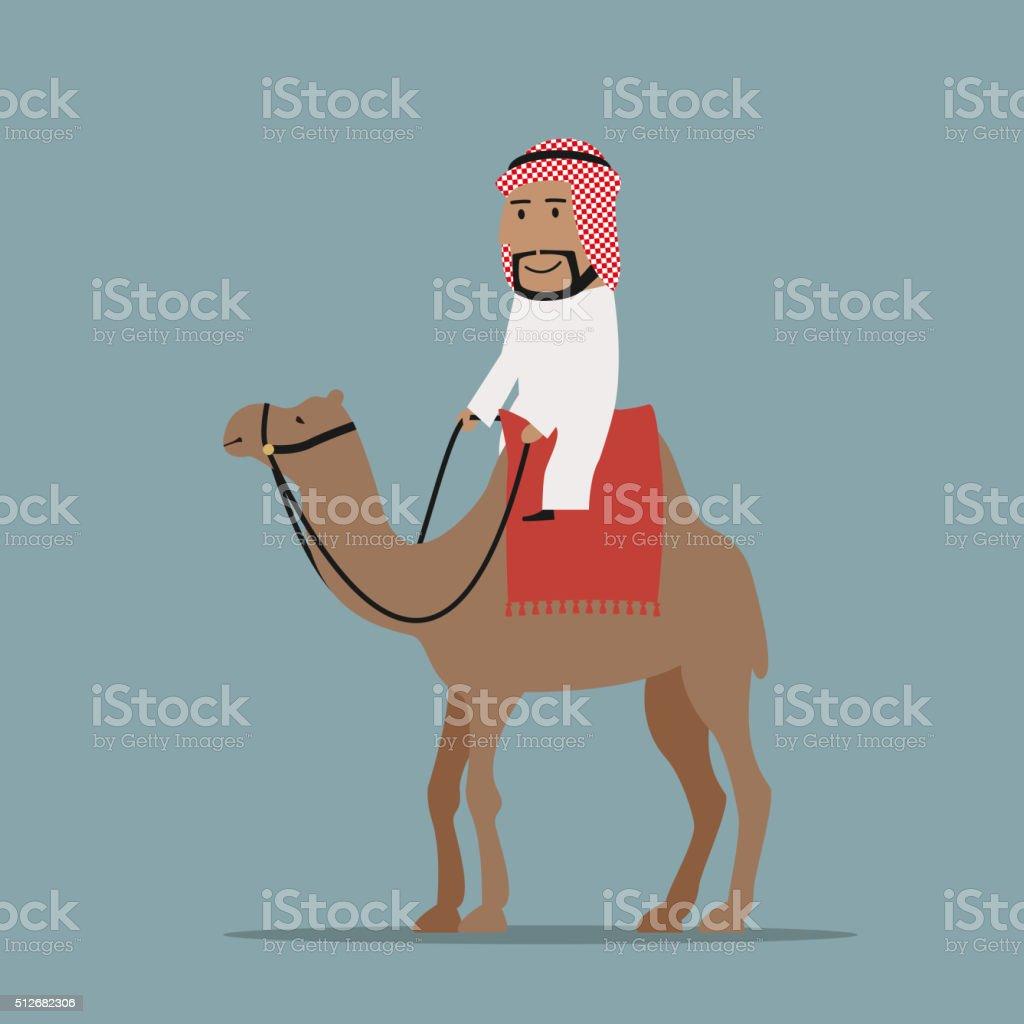Smiling arab businessman riding on camel vector art illustration