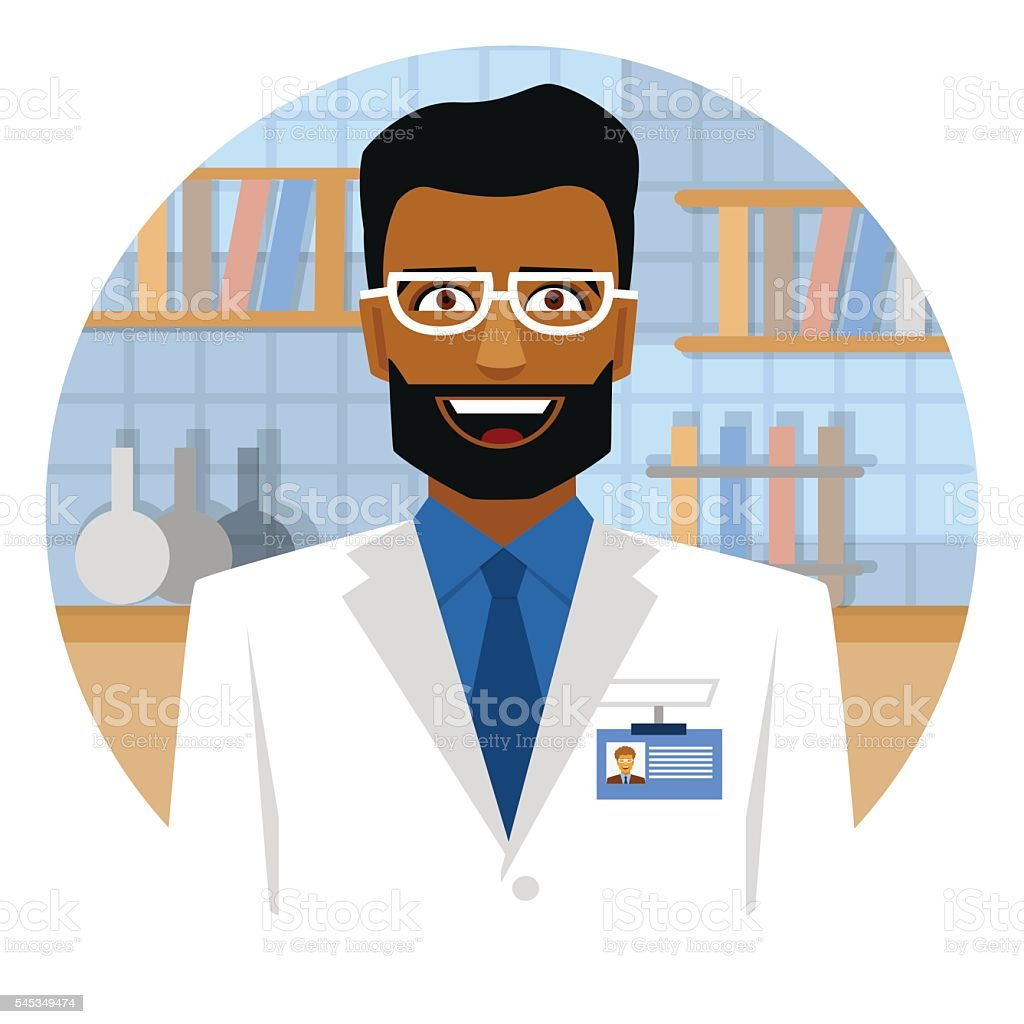 Smiling arab scientist in laboratory on a round emblem. vector art illustration