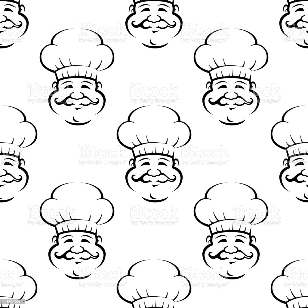 Smiling baker or chef seamless pattern vector art illustration