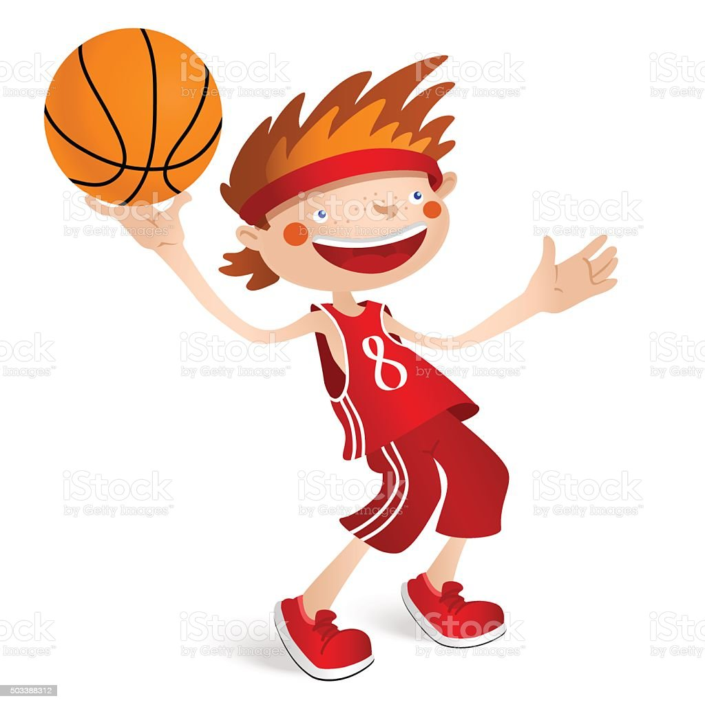 Smiling basketball player boy with a ball vector art illustration