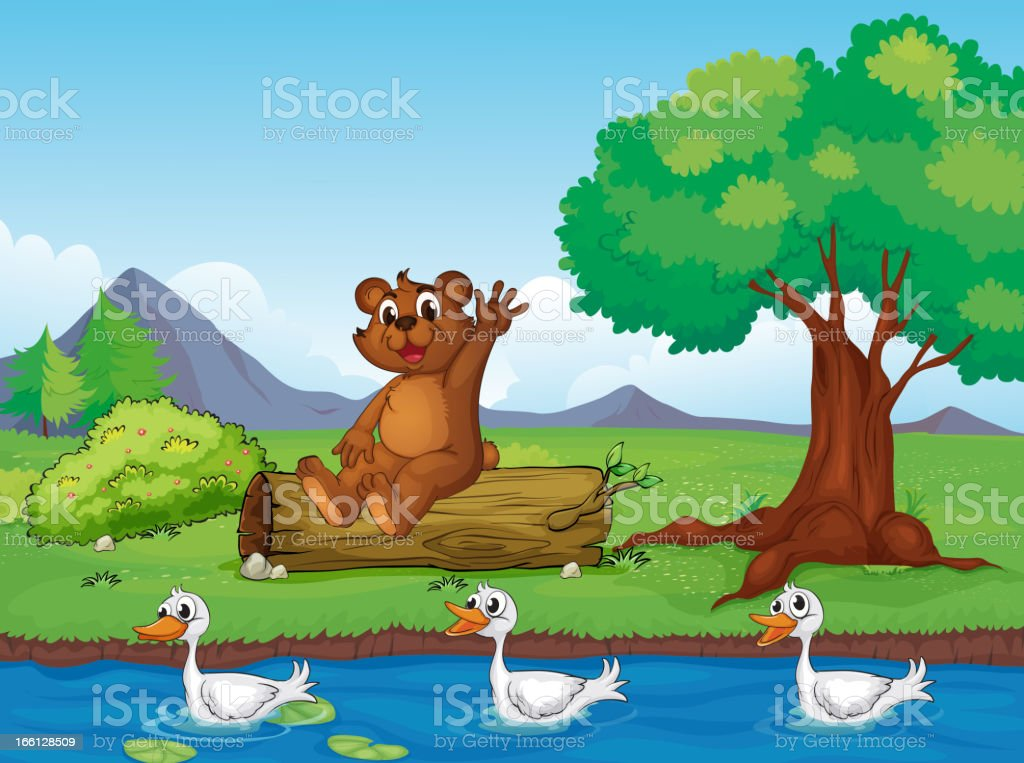 Smiling bear and ducks royalty-free stock vector art