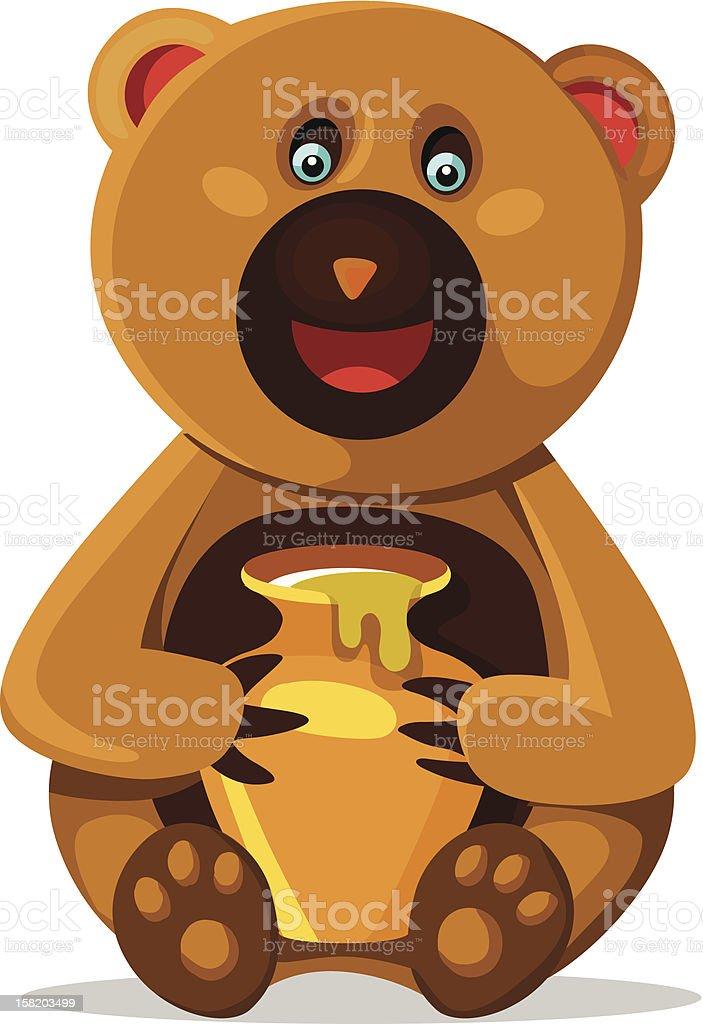 Smiling bear with honey pod royalty-free stock vector art