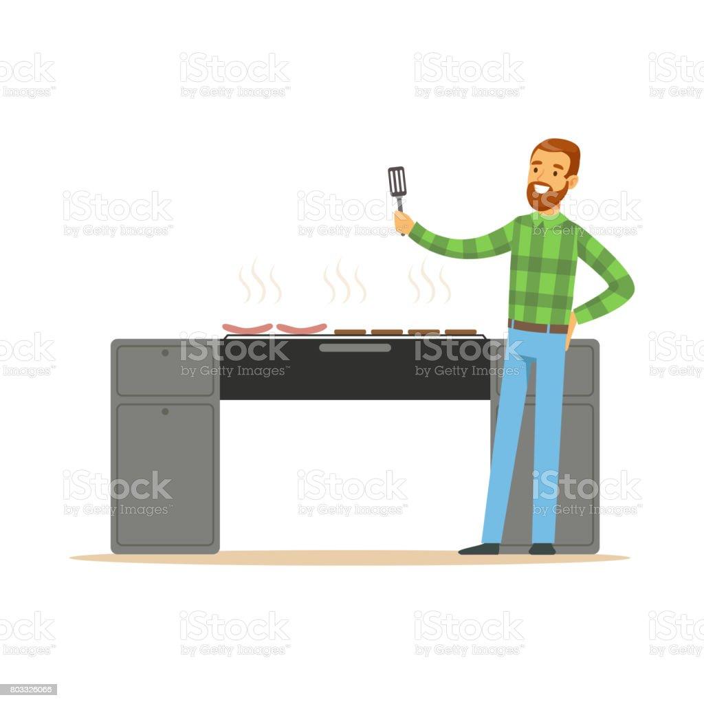 Smiling bearded man preparing sausages on a grill vector Illustration vector art illustration