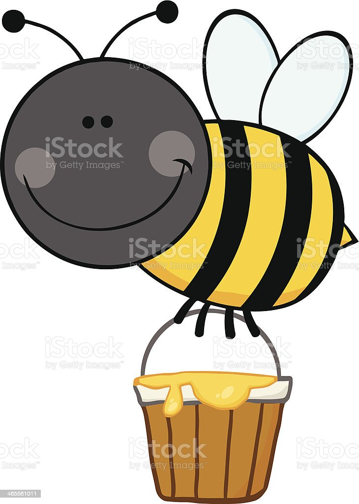 Smiling Bee Flying With A Honey Bucket royalty-free stock vector art