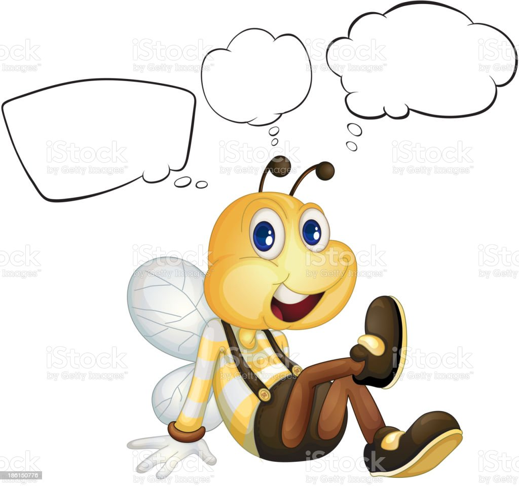 smiling bee with empty callouts royalty-free stock vector art