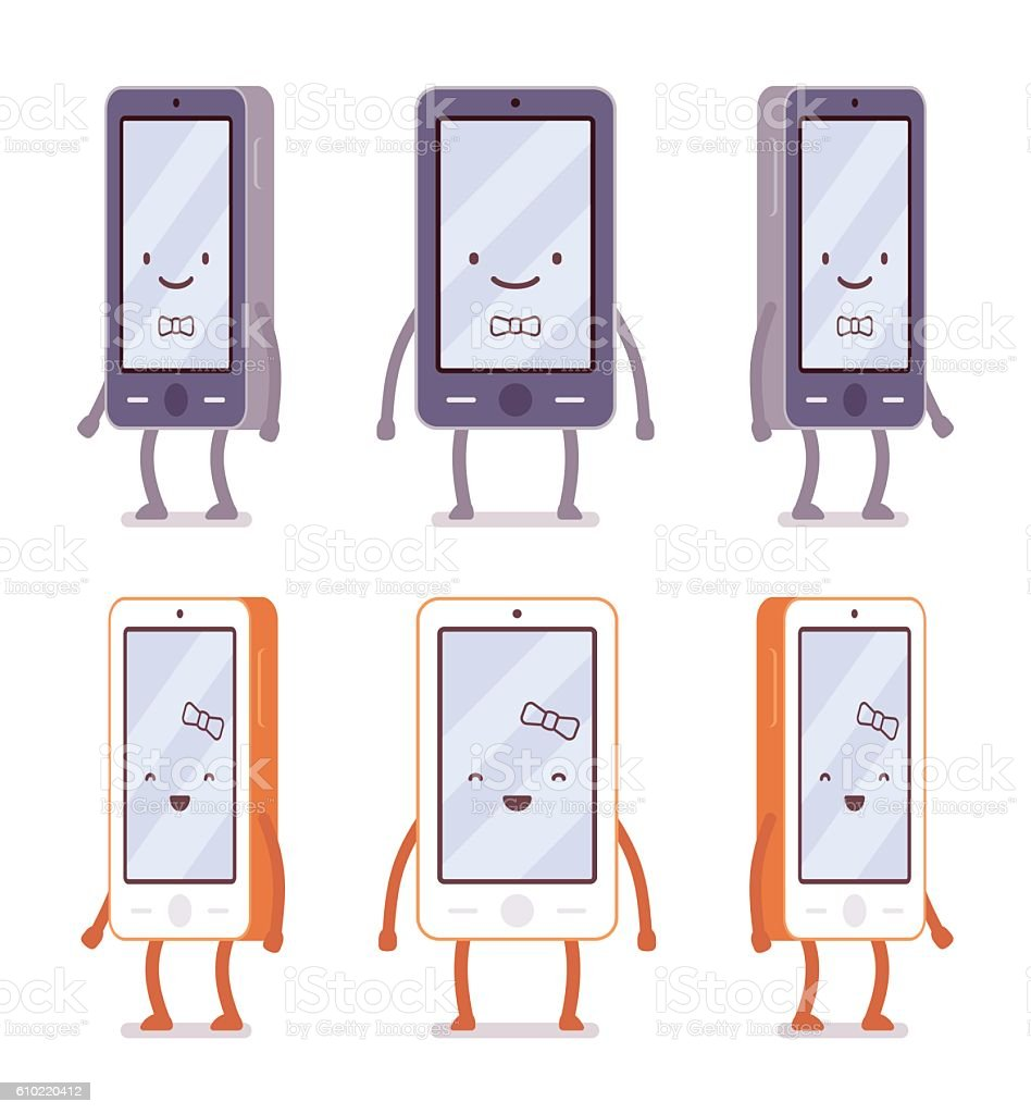 Smiling boy and girl smartphones from different sides vector art illustration