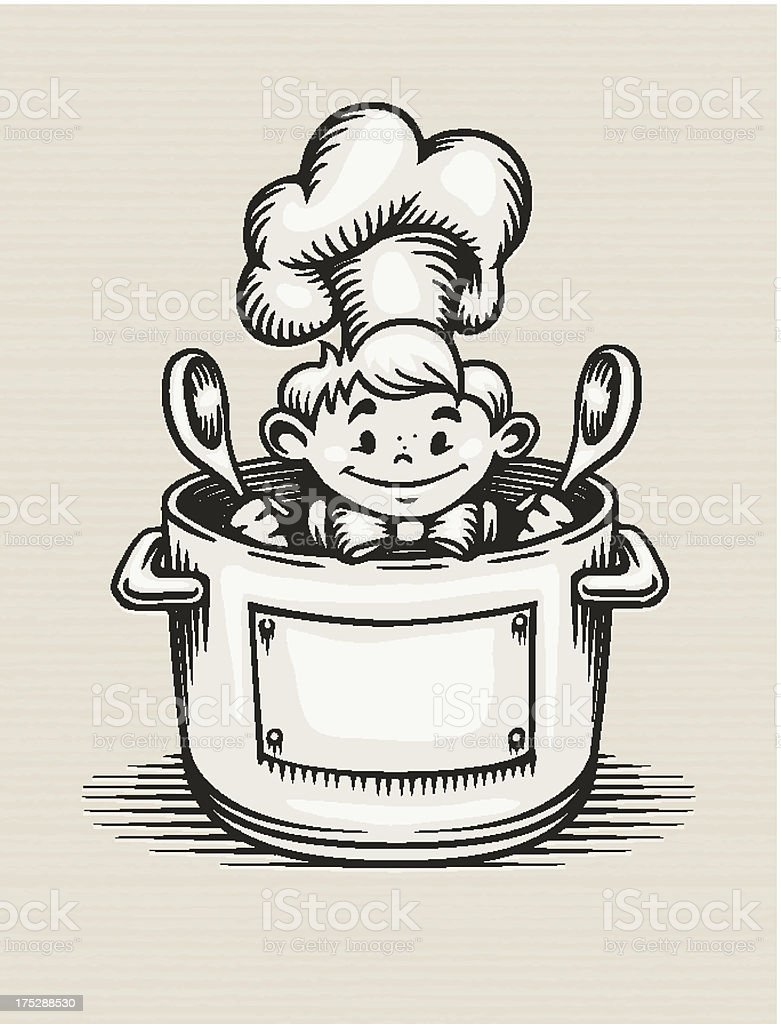 smiling boy cooking in the kitchen royalty-free stock vector art