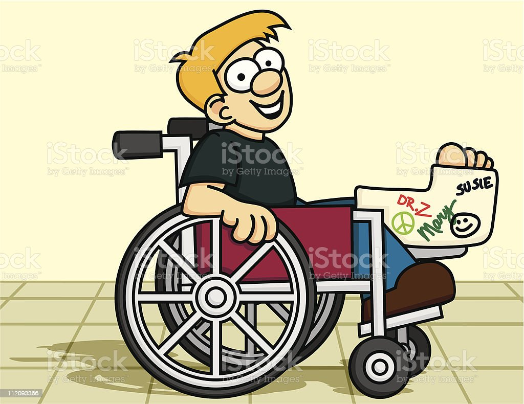 Smiling Boy in a Wheelchair vector art illustration