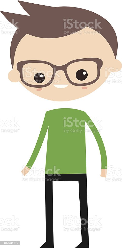 Smiling boy with glasses royalty-free stock vector art