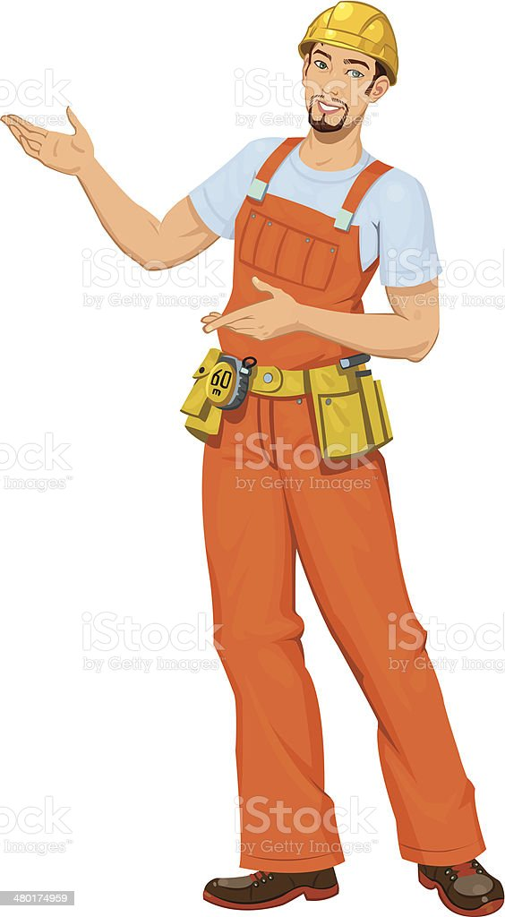 Smiling builder royalty-free stock vector art