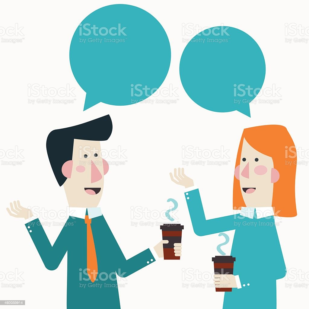 Smiling business colleagues drinking coffee and talking. Coffee time concept vector art illustration