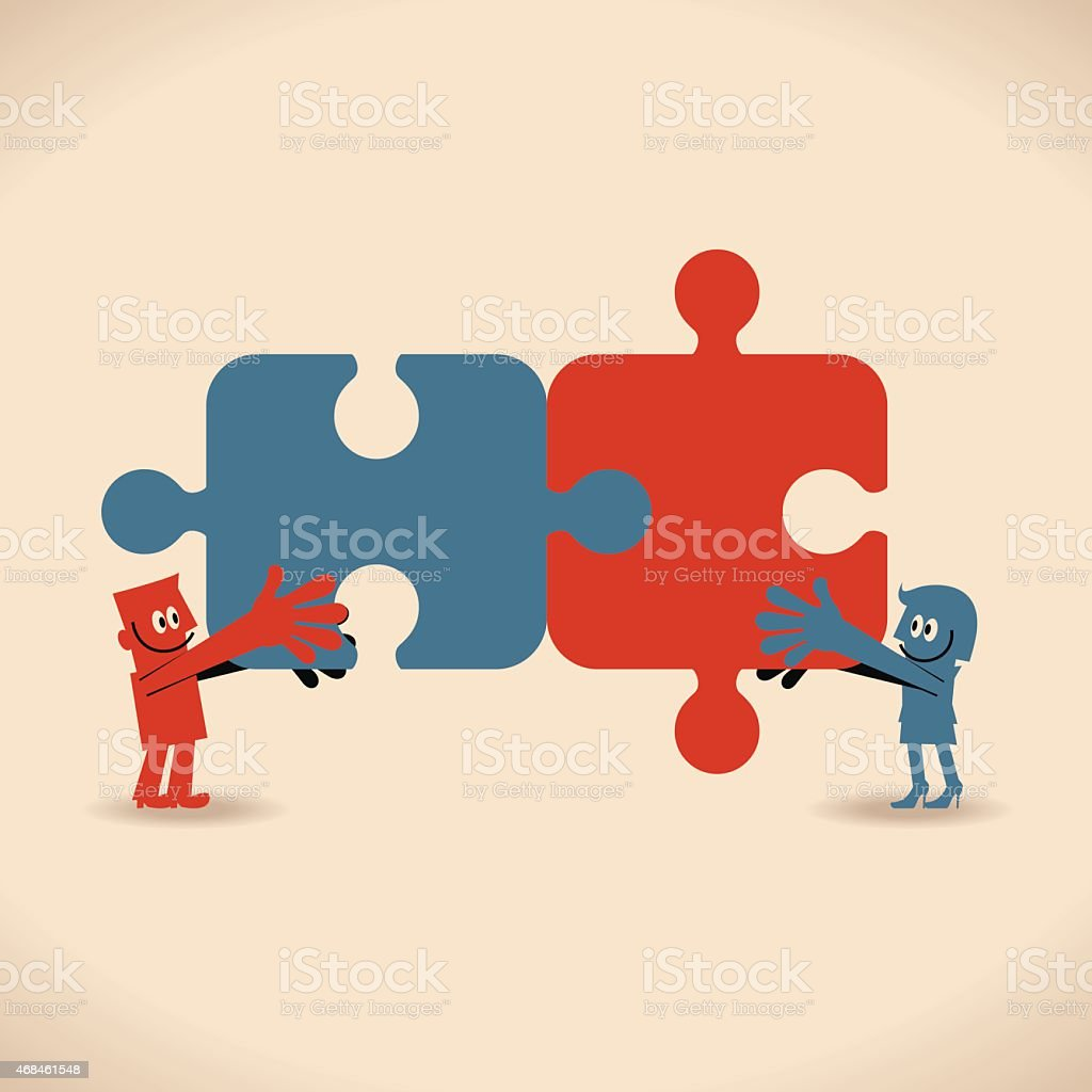 Smiling business man and woman with matching jigsaw puzzle pieces vector art illustration