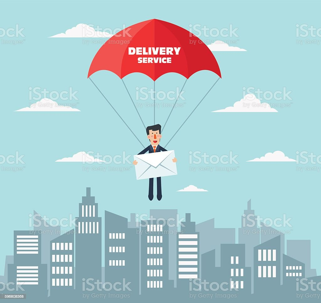 Smiling business man with parachute over city vector art illustration