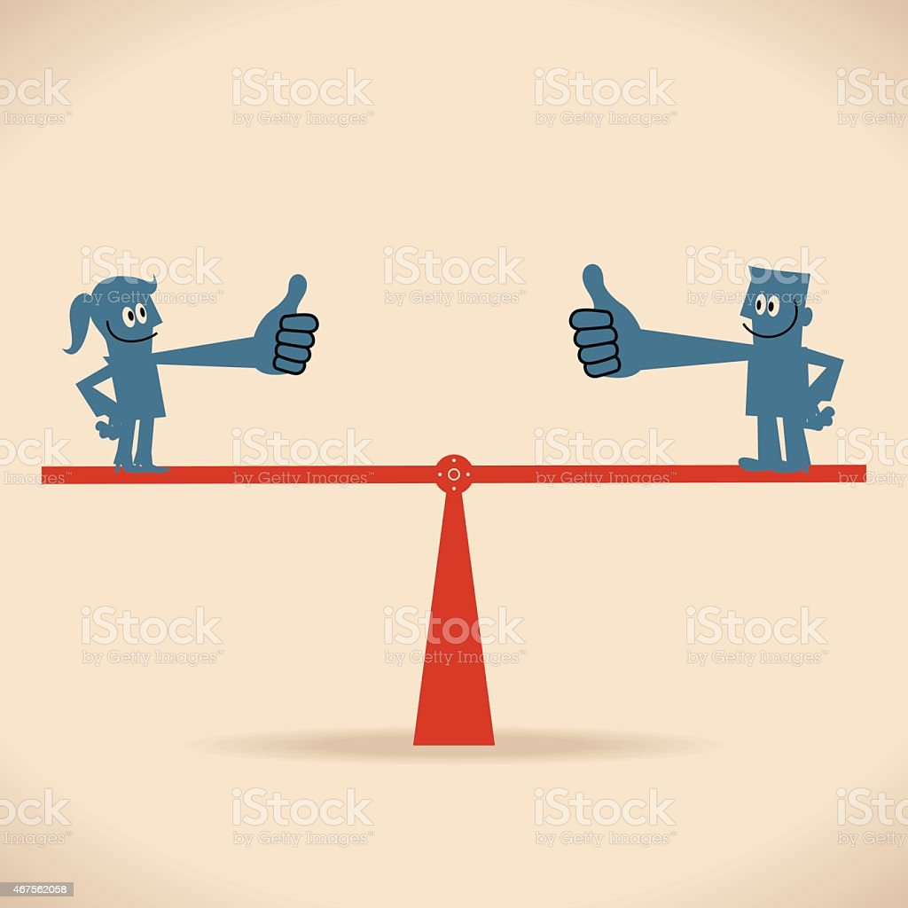 Smiling business men and women standing on seesaw and balancing vector art illustration